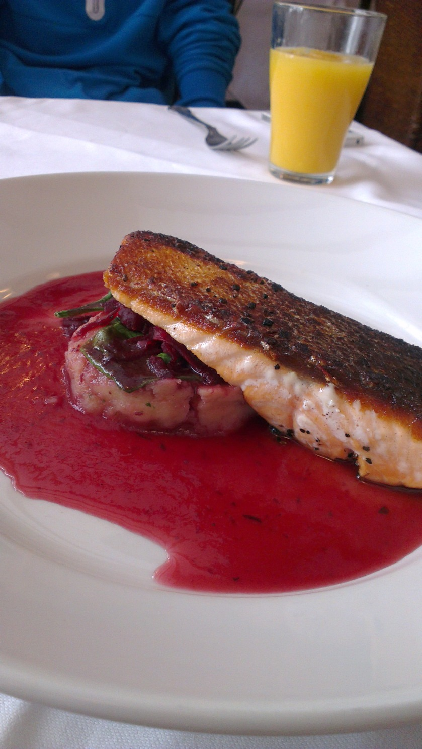 Scottish salmon fillet with a beetroot, plum and port sauce.