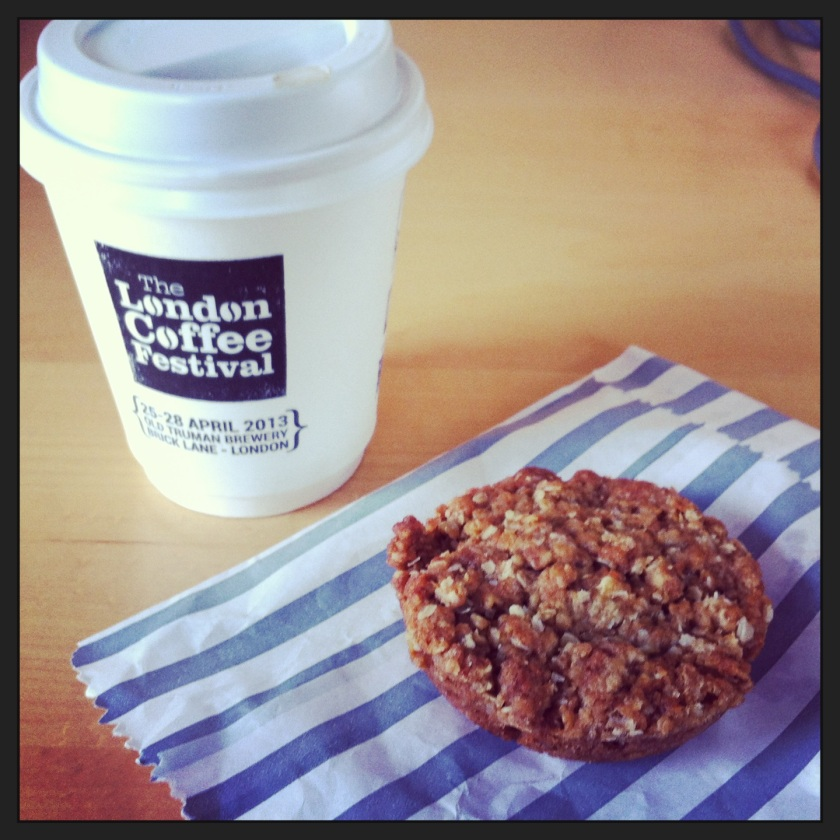 Flat white and oatmeal cookie to go.