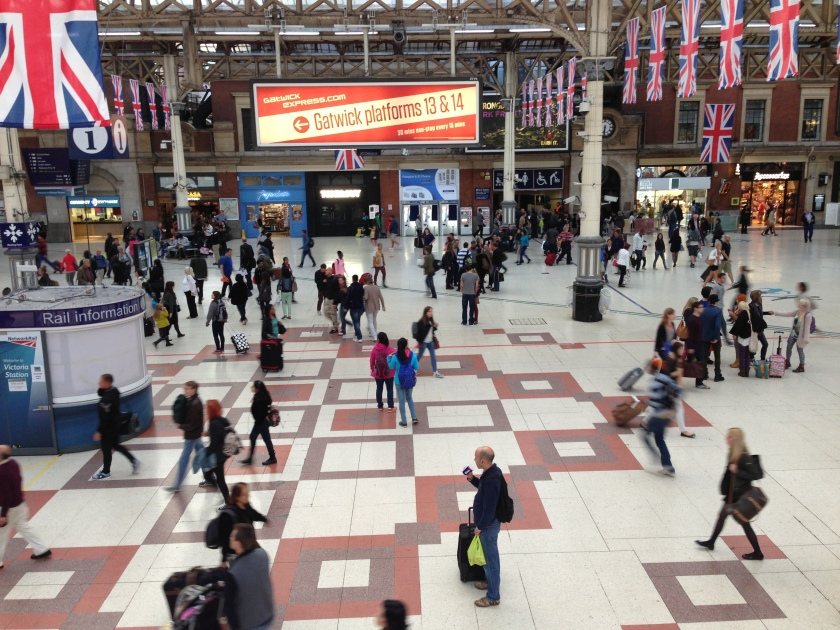 Victoria station on a quiet Sunday. Not a pencil skirt in sight.