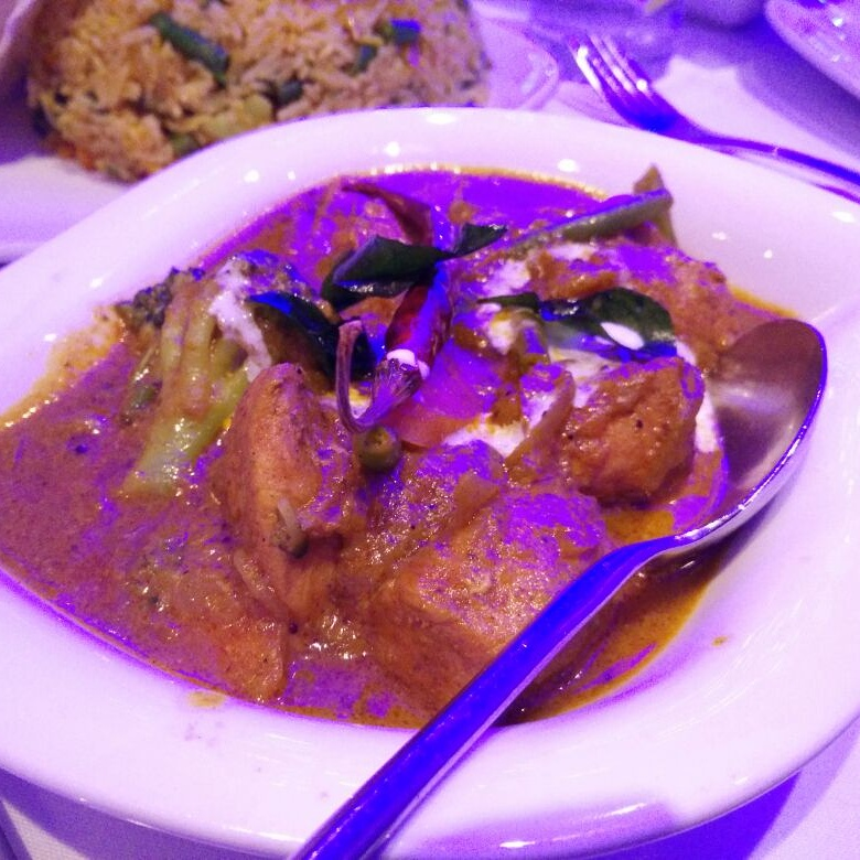 The main course , Kerala chicken korma.