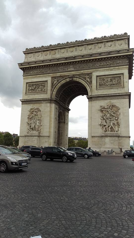 A drivers nightmare - The Arc  de Triomphe. We watched the traffic going around this for quite some time. Could not figure out how it works. Did you know that driving insurance companies actually offer additional 'Arc de Triomphe' cover? Well there's a reason for that.